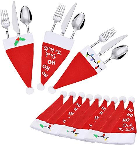 JOYIN 24 Piece Holiday Christmas Santa Hats Dinner Silverware Holders for Cutlery Party Dinner Table or Christmas Dinner Table Decorations