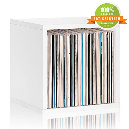 Way basics Extra Large Stackable LP Album Shelf Vinyl Record Storage Cube White, 898585002478, One Size