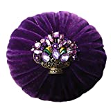 Nakpunar 4' Purple Velvet Pin Cushion for Sewing - Decorated Rhinestone and Filled with Abrasive Emery Sand