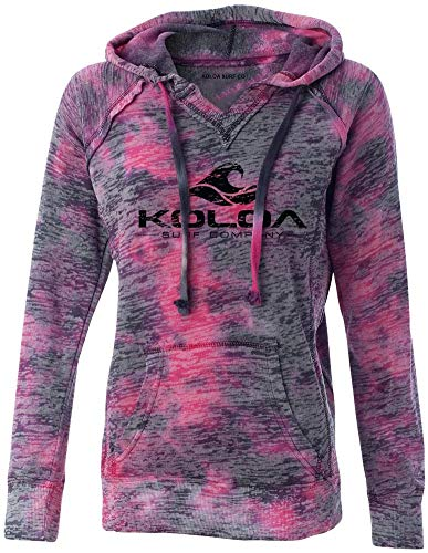 Koloa Surf Co. Womens Vintage Wave Raspberry/bSwirl V-Neck Burnout Hoodies in Sizes S-2XL