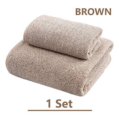 Xiaobing Toalla de baño de Lana de Coral de carbón de bambú para Adultos Toalla Absorbente Suave Juego de Toallas de baño - MARRÓN 3-como se Muestra