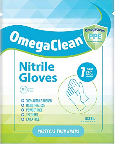 OmegeClean Nitrile Gloves (Individually wrapped) 100% Nitrile Rubber (Latex free) (Pack of 1000)