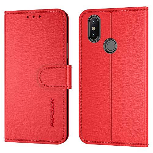FMPCUON Handyhülle Kompatibel mit Xiaomi Mi A2 lite(Neueste),Premium Leder Flip Schutzhülle Tasche Hülle Brieftasche Etui Hülle für Xiaomi Redmi 6 Pro(5,84 Zoll),Rot