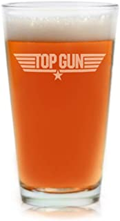 Top Gun Pint Beer Glass Officially Licensed Collectible Premium Etched By Movies On Glass 16 Ounces