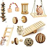 LISSION Hamster Chew Toys Hamster Toys for Cage Natural Wooden Pine Toys Accessories Teeth Care Molar Toy for Guinea Pigs Rats Chinchillas Rabbits Gerbils Small Animals (10 Pack)