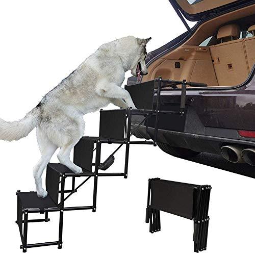 GOOCO Falt Treppen Stufen Für Hunde, Faltbare Hundeauto Stufentreppe Einstiegshilfe Autorampe Für Hund Teleskop Hunderampe Leichte Haustiertreppe, Ideal Für Autos, LKW Und SUV