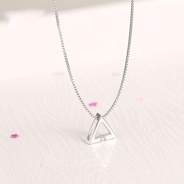 世界に死んだ受け皿風Wvfguj ネックレスS925スターリングシルバートライアングルネックレス鎖骨チェーンガールフレンドの誕生日プレゼントバレンタインデーのギフトを送信するには 美しいネックレス (Color : Silver)