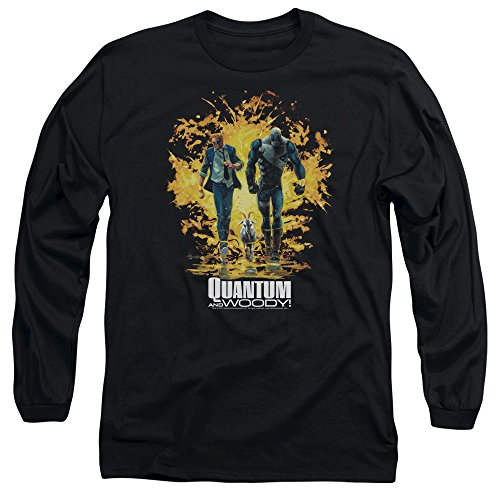 Quantum And Woody - Explosion des hommes manches T-shirt long, X-Large, Black