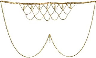 DollsofIndia White Stone Studded Golden Metal Kamarband for Women - Waistband - 13 inches Chain - 30 inches (KT33)