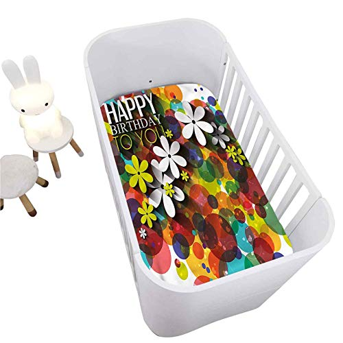"""Birthday Crib Fitted Sheet,Daisies Dots Best Wish Decorative Breathable Cozy Baby Sheet for Standard Crib and Toddler mattresses Nursery Bedding Sheet Crib Mattress Sheets for Boys and Girls,28"""" x 52"""""""