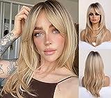 HAIRCUBE Pelucas de mujer rubias largas y rizadas Pelucas sintéticas hasta los hombros para mujeres con flequillo Pelucas de cabello rubio claro de raíz negra para mujeres blancas
