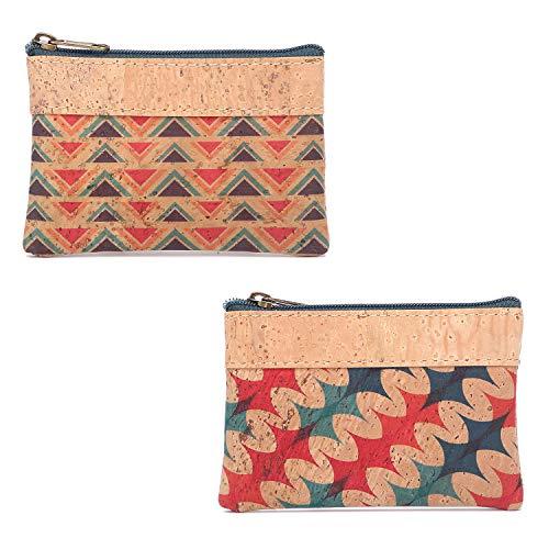 MENKAI-Nice borsetta per ragazze - mini portamonete, piccola borsa con zip, tappo in sughero ecologico, disponibile in diverse illustrazioni (2 pezzi)