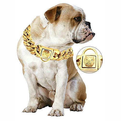 DALEI Perro de Oro Collar de Cadena, Collar de formación de Acero Inoxidable, para Trabajo Pesado Cuban Link Chapado en Oro Collar Grande Perros Mascotas estrangulación para Bully Pitbull,40cm