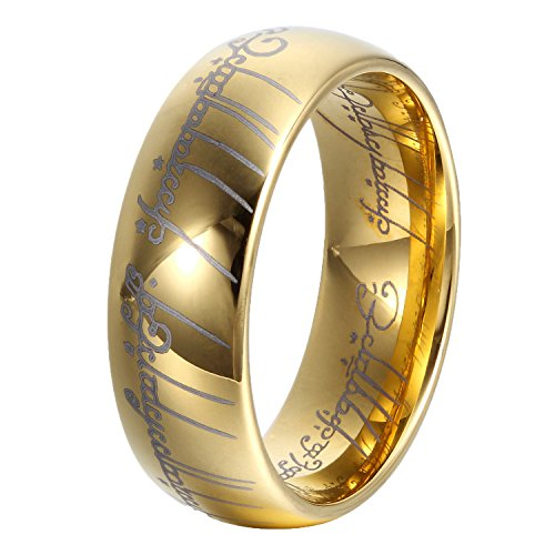 GER [8mm Sapphire Blue Tungsten Carbide Ring Lord of The Rings Wedding Band for Men&Women Size 7