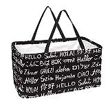 Bolsa de comestibles reutilizable grande, resistente bolsa de compras con parte inferior reforzada y asa (impresión de diferentes idiomas)