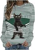 WEDSGTV Linda Camiseta Gráfica de Gato para Mujer, Divertida Novedad, Jersey con Estampado,...