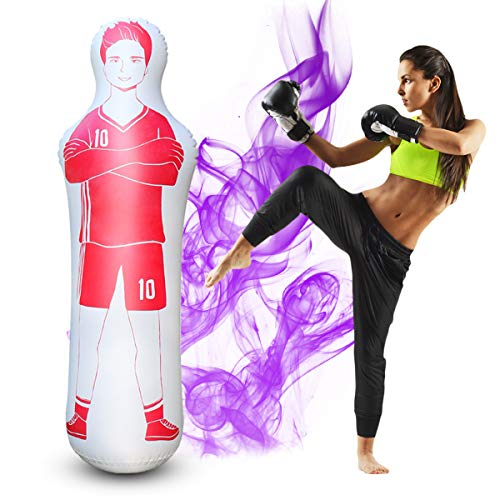 SUNSHINE-MALL Inflatable Soccer Dummy,Boxing Bag,Inflatable Dummy,Inflatable Soccer Dummy Goalkeepr Air Mannequin Free Kick Defender Wall Goalkeeper Defender Training for Children Adult (Red 160cm)