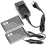 DSTE 2-Pieza Repuesto Batería y DC128E Viaje Cargador kit para Contour CT-3650 VholdR ContourHD ContourHD 720P ContourHD 1080P ContourHD 1200 ContourHD 1300 ContourHD 1500 ContourHD 2035