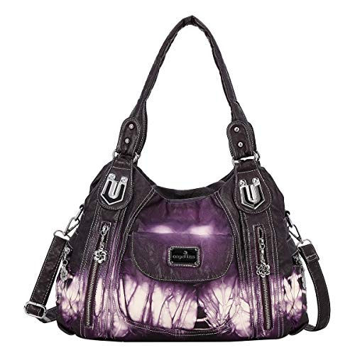 angel kiss Damen Handtasche Schultertasche PU Leder Top Griff Satchel Tote Bag, Ak812-2z Purple, Large