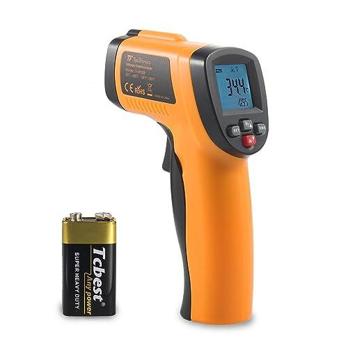 Thermomètre Infrarouge Cuisine TaoTronics (Émissivité Ajustable, Réglage Alarme Basse et Haute, Alarme de Protection, Indicateur Batterie Faible, Plage de Mesure -50°C à 420°C)