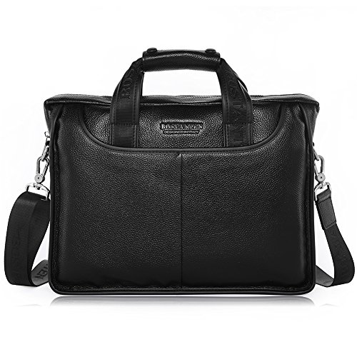 BOSTANTEN Leather Briefcase Handbag Messenger Business Bags for Men Black