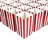 WEKNOWU Paquete de 100 cajas de palomitas de maíz para fiestas, mini contenedores de papel de caramelo de rayas rojas para noches de cine, decoraciones temáticas de carnaval, regalos de cumpleaños