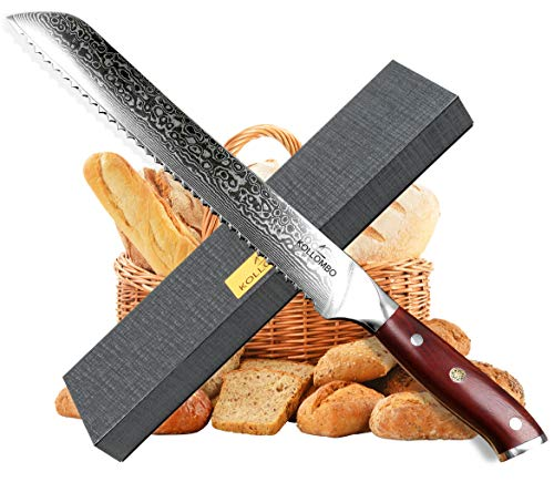 KOLLOMBO Bread Knife, Damascus Stainless Steel 9 in. Serrated Blade and Tropical Strong Rosewood Handle. Sharpest Blade & Cutter
