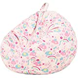 Nobildonna Bean Bag Chair Cover Only for Kids Boys Girls Teens Toddler. Big Beanbag Without Filling Storage Stuffed Animal Sofa Sack for Organizing Soft Doll Toy (Pink Unicorn,32x29inch)