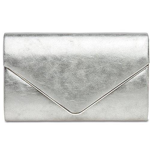 CASPAR TA349 Damen elegante Envelope Clutch Tasche Abendtasche mit langer Kette, Farbe:silber, Größe:One Size