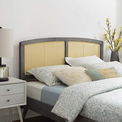Modway Halcyon Cane Woven Rattan Queen Headboard in Gray