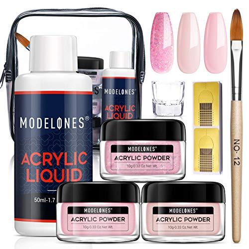 Modelones Pink Acrylic Powder and Liquid Kit Glitter Acrylic Powder Set with Professional Acrylic Nail Brush & Liquid Monomer No Nail Lamp Needed, Long-Wear, EMA Liquid