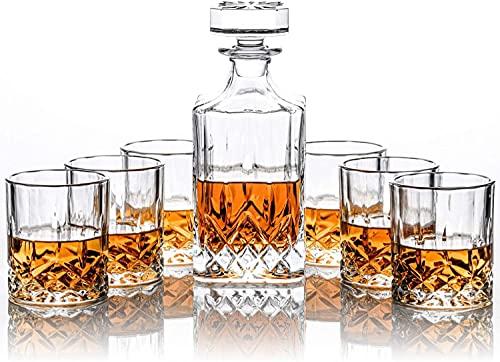 Set di decanter per whisky e 6 bicchieri da whisky, in confezione regalo – set originale di decanter per liquori in cristallo per borbon, scotch, vodka