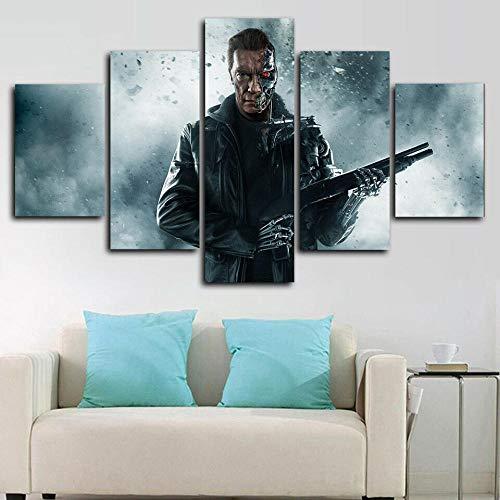 runtooer Bilder Dekorative malerei Spray malerei leinwand malerei 5 stück Arnold Schwarzenegger Terminator Leinwand Wandbild, Möbel Art Deco, Rahmen