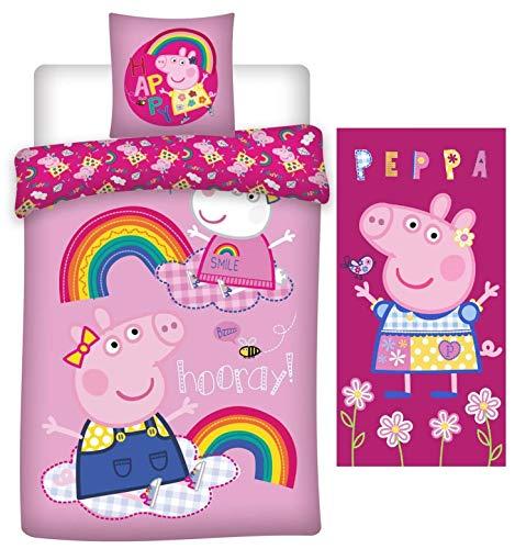 rainbowFUN.de Peppa Wutz Wende-Bettwäsche-Set Bettbezug 135x200 Kissenbezug 80x80 Handtuch 70x140 Peppa Pig