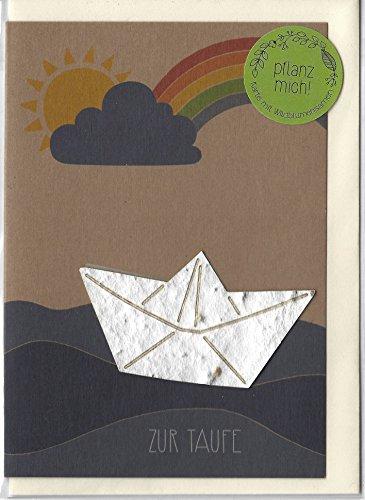 """Taufkarte\""""Boot\"""" - Kraftkarton-Grußkarte mit eingearbeiteten Blumensamen"""