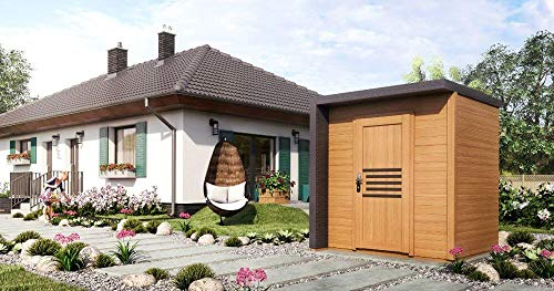 Alpholz Gartenhaus Bratek aus Massiv-Holz | Gerätehaus mit 19 mm Wandstärke | Garten Holzhaus inklusive Montagematerial | Geräteschuppen Größe: 202 x 168 cm | Flachdach
