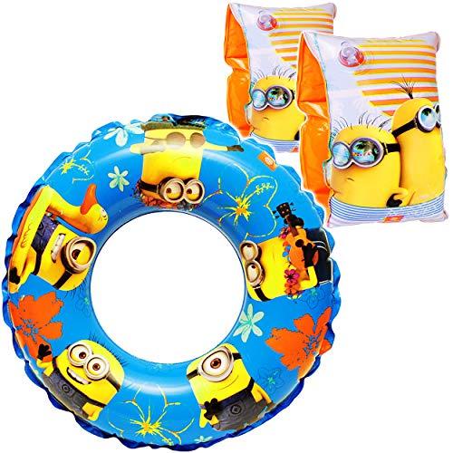 alles-meine.de GmbH Set _ Schwimmflügel & Schwimmring - aufblasbar -  Minions  - 2 bis 6 Jahre - Schwimmärmel & Schwimmhilfe - für Jungen - Kinder Luft / Strandspielzeug - Bade..