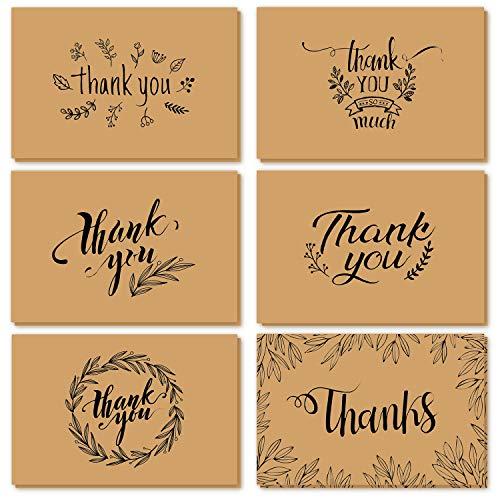 Dankeskarten, Ohuhu 36 Pack Braune Papier Dankeskarten Grußkarten W/ 36 Karton Umschläge für Grüße, Abschlüsse, etc, 10X15.2cm (36 Pack Braune Papier)