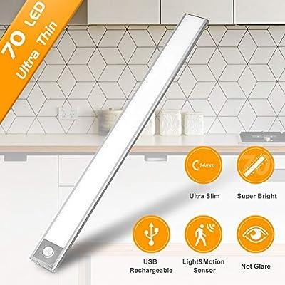 LED Closet Light Motion Sensor Light Indoor Under Kitchen Cabinet Lighting Rechargeable Battery Operated Wireless Undercounter Lights Motion Bedroom Night Light Homelife Stick on Light for Shelf Stair
