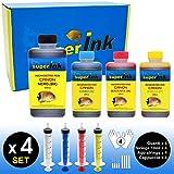 (M) Medium-4 Kit Inchiostri superInk (dye) per tutte le stampanti inkjet Canon 1x500ml NERO + 3x250ml (CIANO + MAGENTA + GIALLO) + 4 set di accessori (guanti, siringhe, aghi)