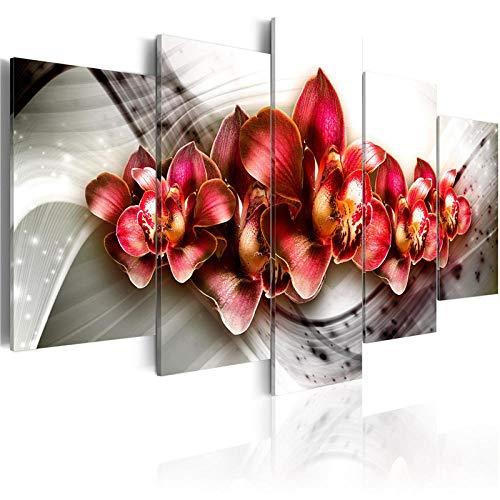 TXFMT Geen frame canvas decoratie schilderij handgemaakte DIY 5 Stuks Kleurrijke Moderne Canvas Schilderen Paarse Bloemen Schilderen Muur Kunst Rood Bloesem Poster Woonkamer Woonkamer Decoratie foto's schilderijen op ca 200*100CM