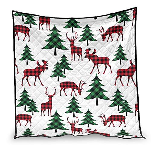 OwlOwlfan Colcha de Navidad de ciervo y abeto súper suave y fácil de cuidar, hipoalergénica, fresca colcha para invierno, cálida adicional, 180 x 200 cm, color blanco