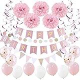 SUNBEAUTY Happy Birthday Girlande Set Geburtstag Dekoration Seidenpapier Pompoms Rosa Folie Spirale Deko (Rosa)