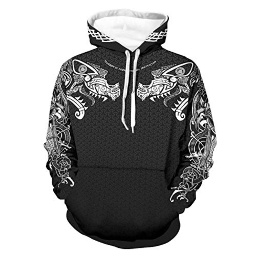 Viking Unisex Hoodie Polyester Pullover Long Sleeve Sweatshirts with Pockets Fits Girls Outsports Graphic Design Washable Breathable Fashion Autumn Winter White l