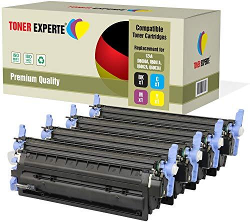 Pack de 4 TONER EXPERTE® Compatibles 124A Q6000A Q6001A Q6002A Q6003A Cartuchos de Tóner Láser para HP Color Laserjet 1600 1600n 2600 2600n 2600dn 2605 2605d 2605dn 2605dtn CM1015 CM1017 MFP