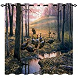 EiiChuang Hunting Curtains, Camouflage Hunting Forest Animals Stream Treasure Birds Mallard Waterproof Semi Blackout Curtains, Grommet Window Drapes for Kitchen Cafe Decor, 2 Panel 27.5 x 39 Inch