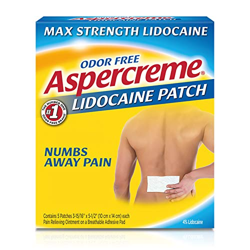 Aspercreme Max Strength Lidocaine Pain Relief Patch 5 Count for Back Pain Odor Free Pain Patches