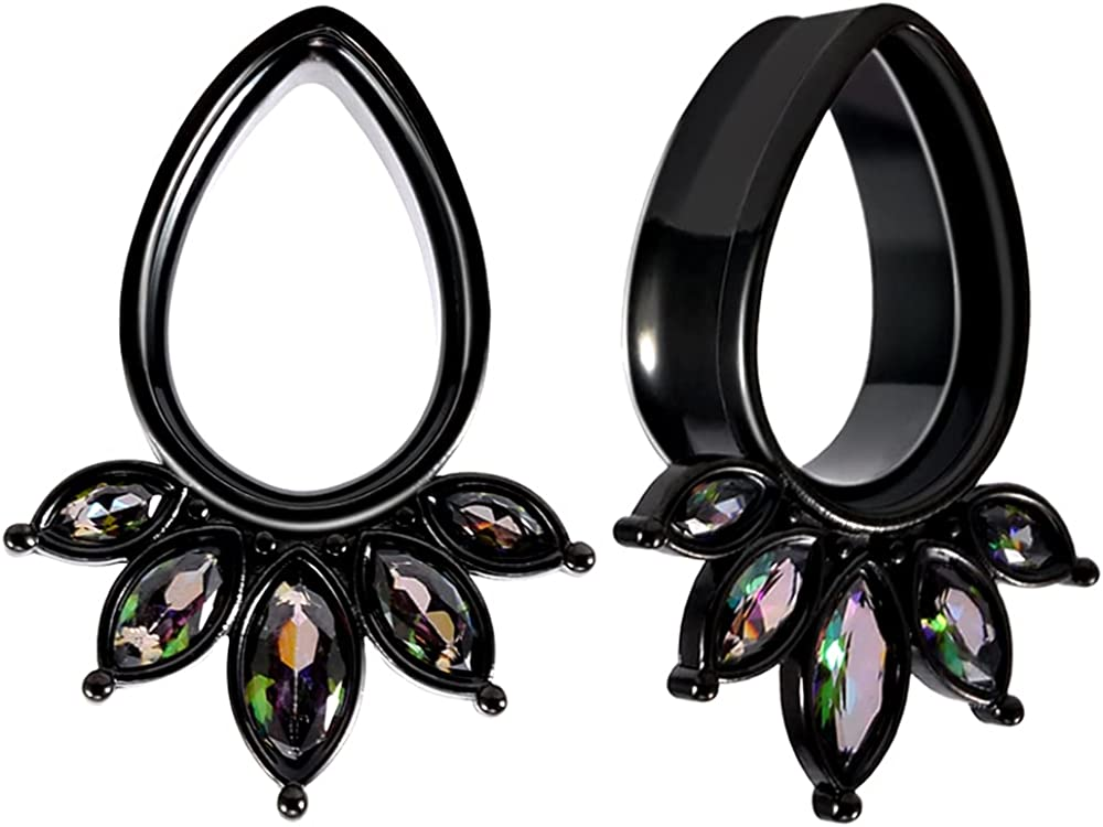 COOEAR 1 Pair Gauges for Ears Tear Drop Gem Ear Tunnels and Plugs Flesh Stretchers Expander 0g to 1 Inch.