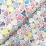 S&W Sommersweat Cotton Candy Herzen - Stoff - Meterware -