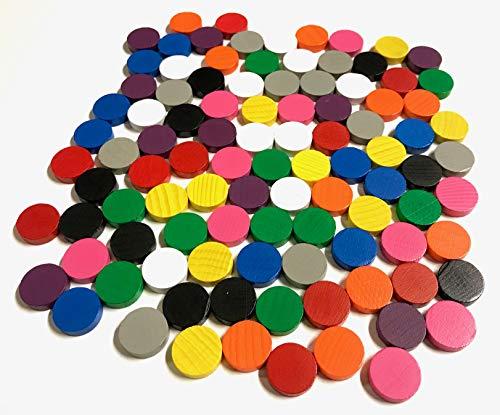 Spieltz Spielsteine Scheiben aus Holz, 15 / 4 mm, 10 Farben (10 x 10)
